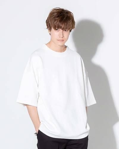 半袖モックネックTシャツ(ホワイト)