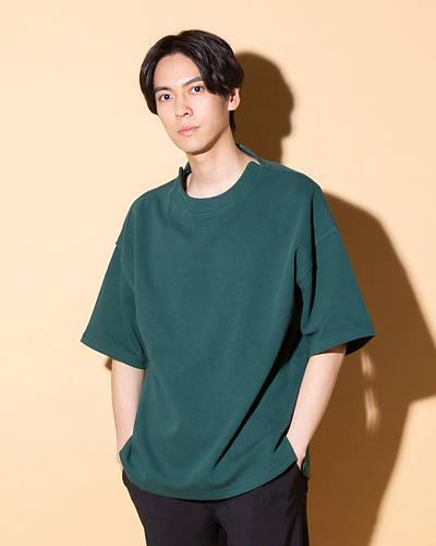 半袖モックネックTシャツ(グリーン)
