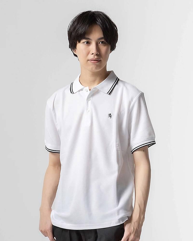 ドライ鹿の子ワンポイント刺繍ポロシャツ(ホワイト)