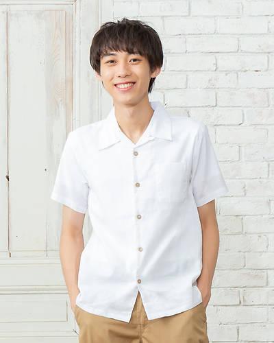 綿麻ストレッチオープンカラー半袖シャツ(ホワイト)