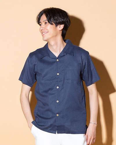 綿麻ストレッチオープンカラー半袖シャツ(ネイビー)