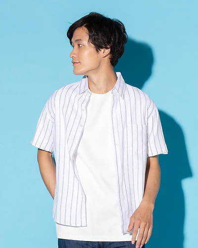 綿麻ストレッチレギュラー半袖シャツ(ホワイト×ネイビー)