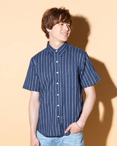 綿麻ストレッチレギュラー半袖シャツ(ネイビー×ホワイト)