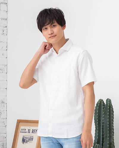 フレンチリネンレーヨン半袖シャツ(ホワイト)