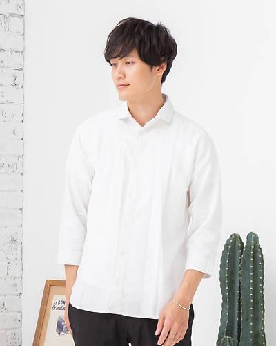 フレンチリネンレーヨン七分袖シャツ(ホワイト)