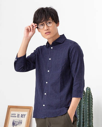 フレンチリネンレーヨン七分袖シャツ(ストライプ)