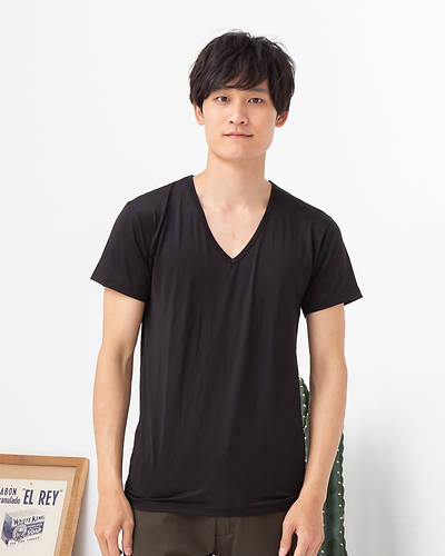 接触冷感クール&ドライVネックTシャツ(ブラック)