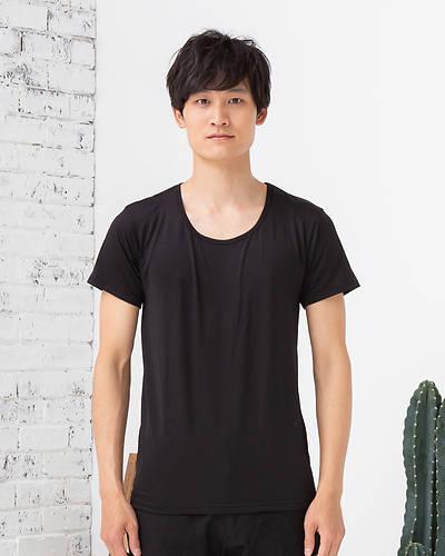 接触冷感クール&ドライUネックTシャツ(ブラック)
