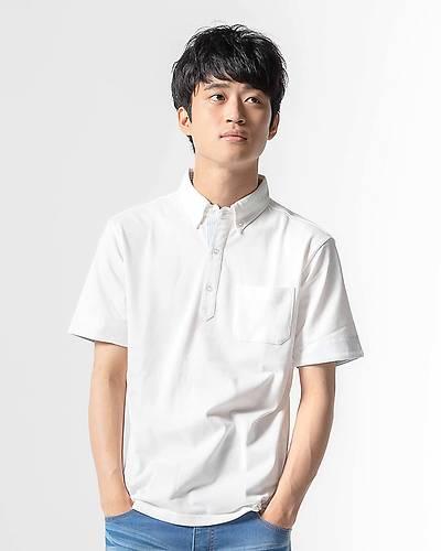 クールマックス釦ダウンポロシャツ(ホワイト)