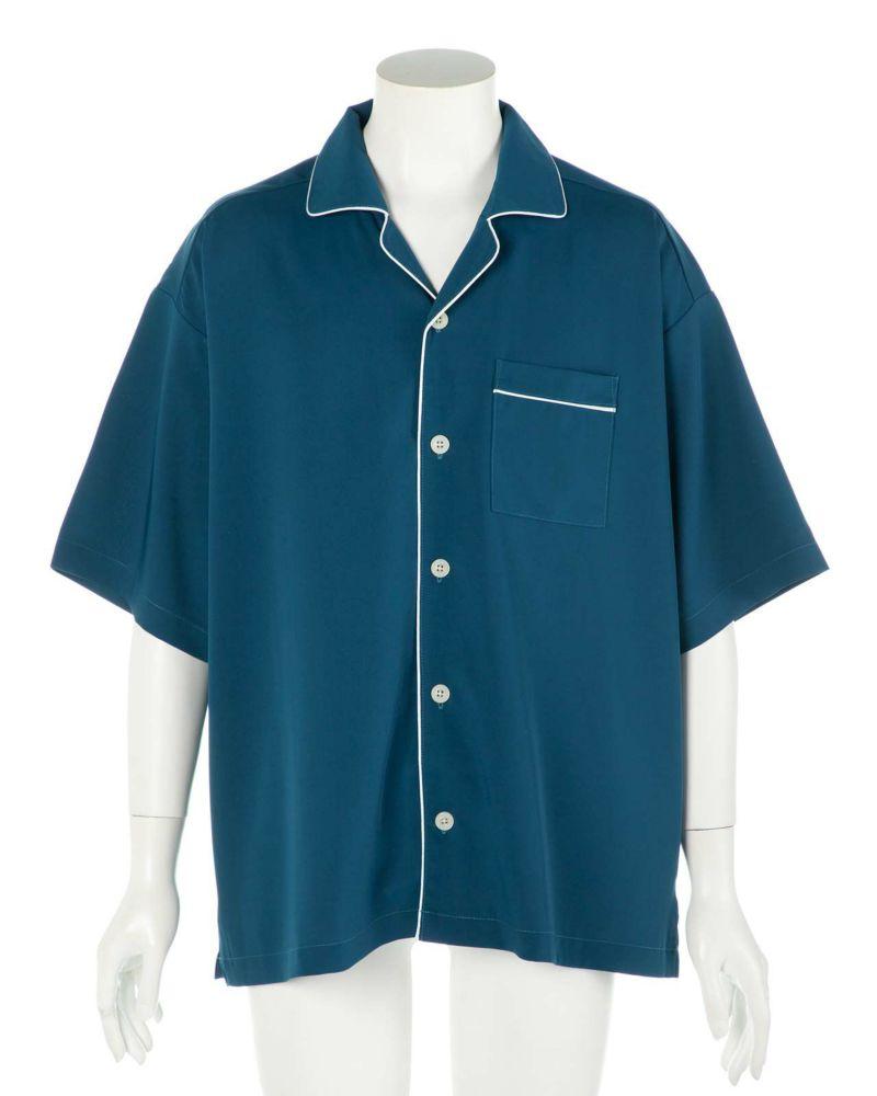ポリパイピングオープンシャツ(インクブルー)