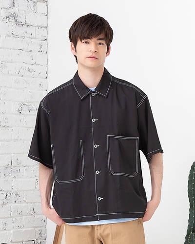 ビッグポケットオーバーシャツ(ブラック)