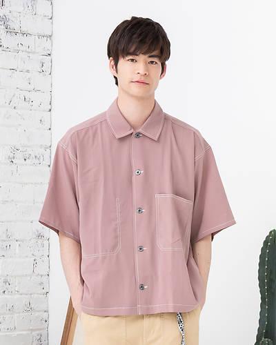 ビッグポケットオーバーシャツ(ピンク)