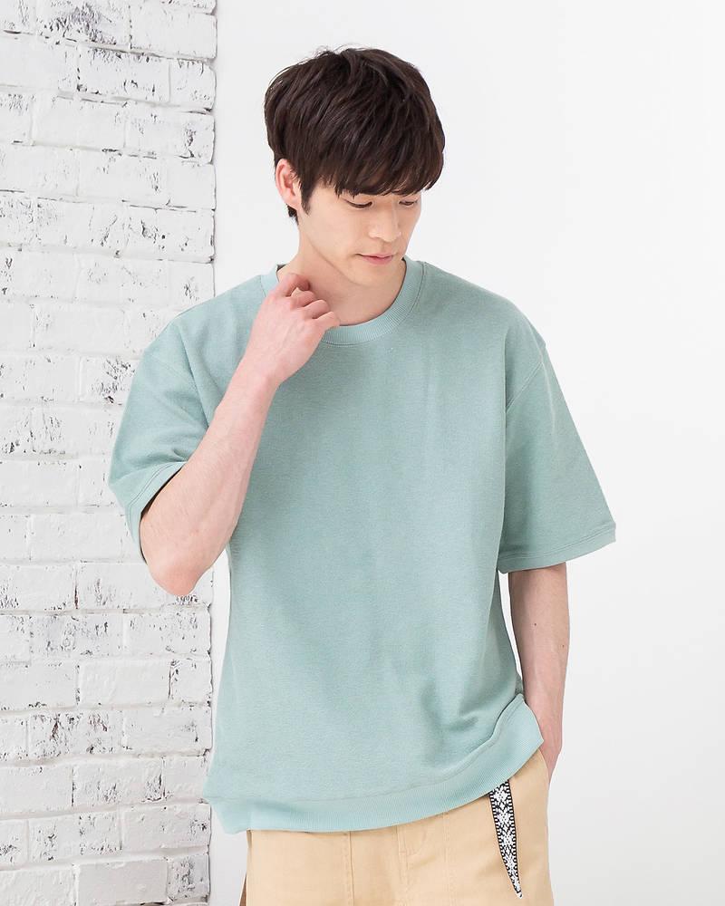 【裾がリブになっていてメリハリがつく!程よいゆとりでリラックスした雰囲気を演出♪】ドロップショルダー裾リブTシャツ(ミント)