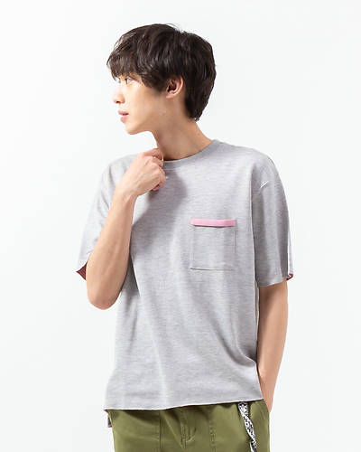 ダブルフェイスポケットTシャツ(杢グレー)