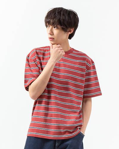 マルチボーダーTシャツ(レッド)