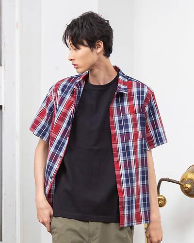 先染めチェック半袖シャツ(レッド)