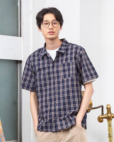 先染めチェック半袖シャツ(ネイビー)