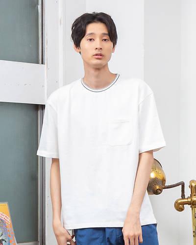 リブラインクルーネックTシャツ(ホワイト)