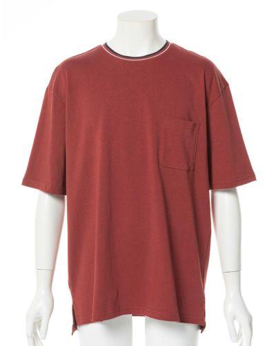 リブラインクルーネックTシャツ(レッド)
