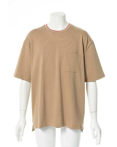 リブラインクルーネックTシャツ(ベージュ)