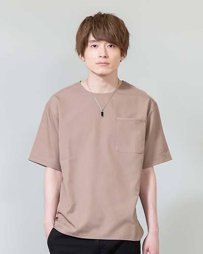 TR素材クルーネック半袖Tシャツ(ベージュ)