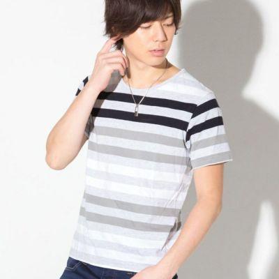 先染ボーダー半袖Tシャツ(チャコール)