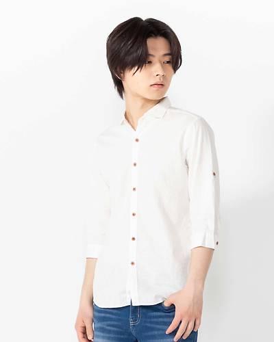 日本製綿麻ホリゾンタルカラー七分袖シャツ(ホワイト)