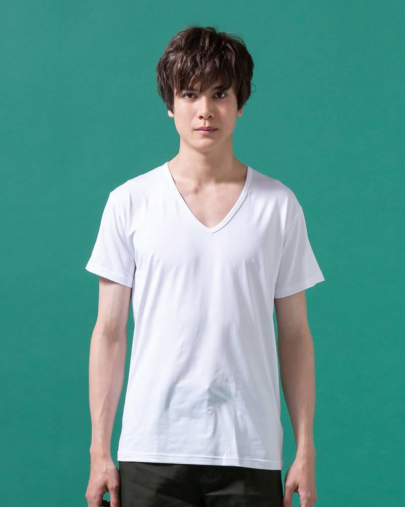 接触冷感クール&ドライVネックTシャツ(ホワイト)