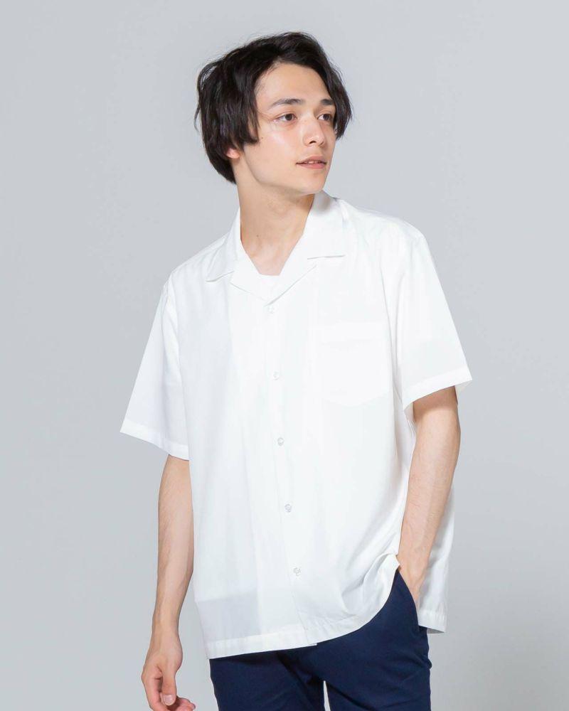 【首元がスッキリと見えるオープンカラーシャツはトレンドのおしゃれを楽しめる一着!柔らかくとろみのある素材がスタイリングにゆったりとしたヌケ感を与えてくれます◎】オープンカラー半袖シャツ(オフホワイト)