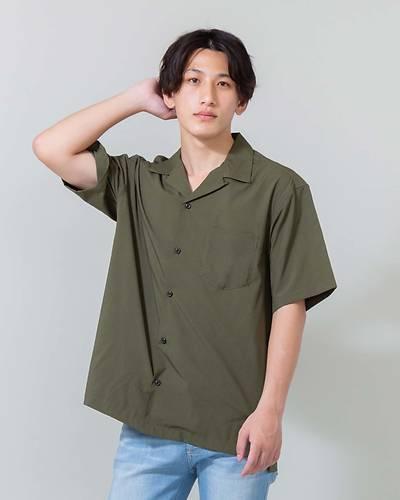 オープンカラー半袖シャツ(カーキ)