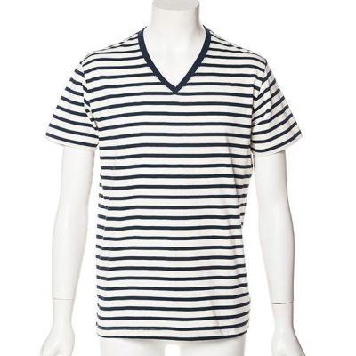 ボーダーVネックTシャツ(ホワイトxネイビー)