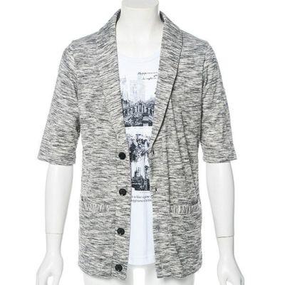 五分袖ジャケット風カーディガンx半袖Tシャツアンサンブル(2点セット)(杢グレー)