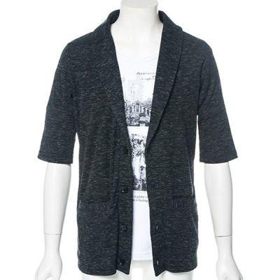 五分袖ジャケット風カーディガンx半袖Tシャツアンサンブル(2点セット)(杢ブラック)