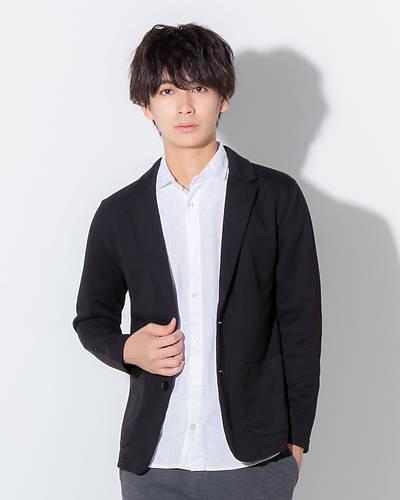 ポンチテーラード長袖ジャケット(ブラック)