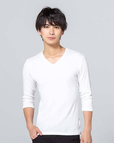 日本製テレコ七分袖VネックTシャツ(ホワイト)