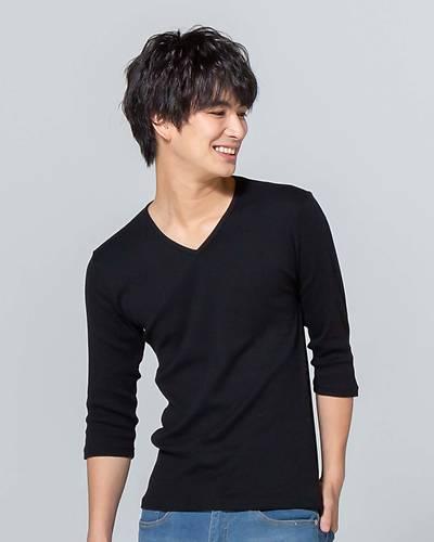 日本製テレコ七分袖VネックTシャツ(ブラック)