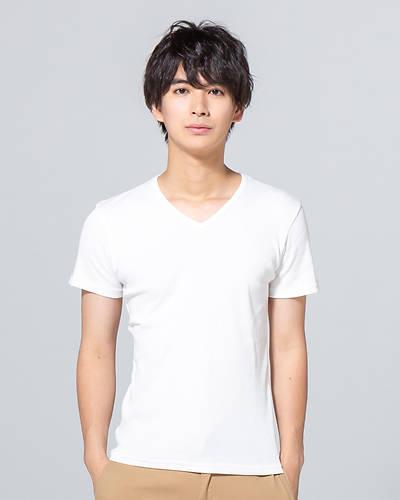 日本製テレコ半袖VネックTシャツ(ホワイト)