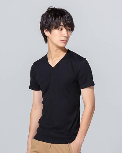 日本製テレコ半袖VネックTシャツ(ブラック)