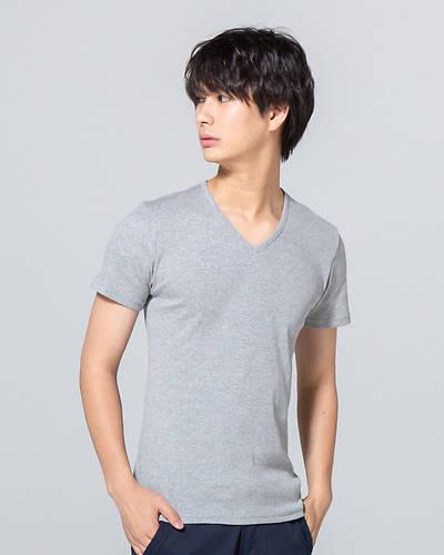 日本製テレコ半袖VネックTシャツ(グレー)