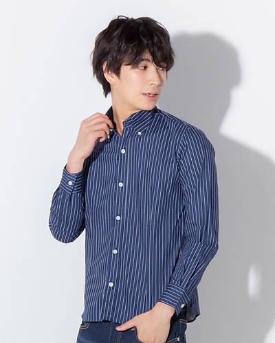 日本製ストライプボタンダウンシャツ(ネイビーストライプ)