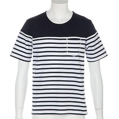 パネル切替ボーダー半袖Tシャツ(ネイビー)
