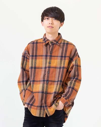 チェックオーバーサイズシャツ(ベージュ×ブラウン)