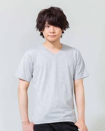 半袖VネックTシャツ(杢グレー)