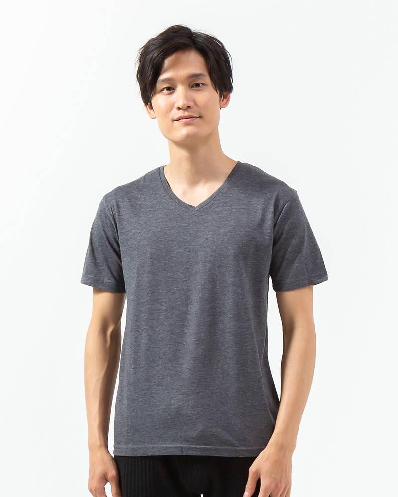 半袖VネックTシャツ(杢チャコール)