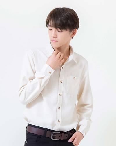 ネル無地レギュラーシャツ(ホワイト)
