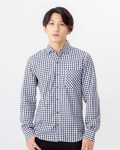 日本製ギンガムチェックボタンダウン長袖シャツ(ネイビー)