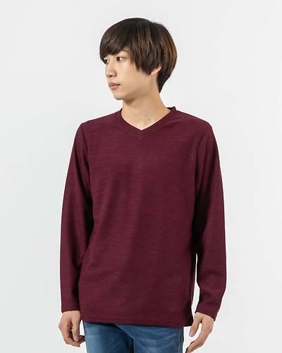 スラブ2重臼VネックロングTシャツ(杢ワイン)