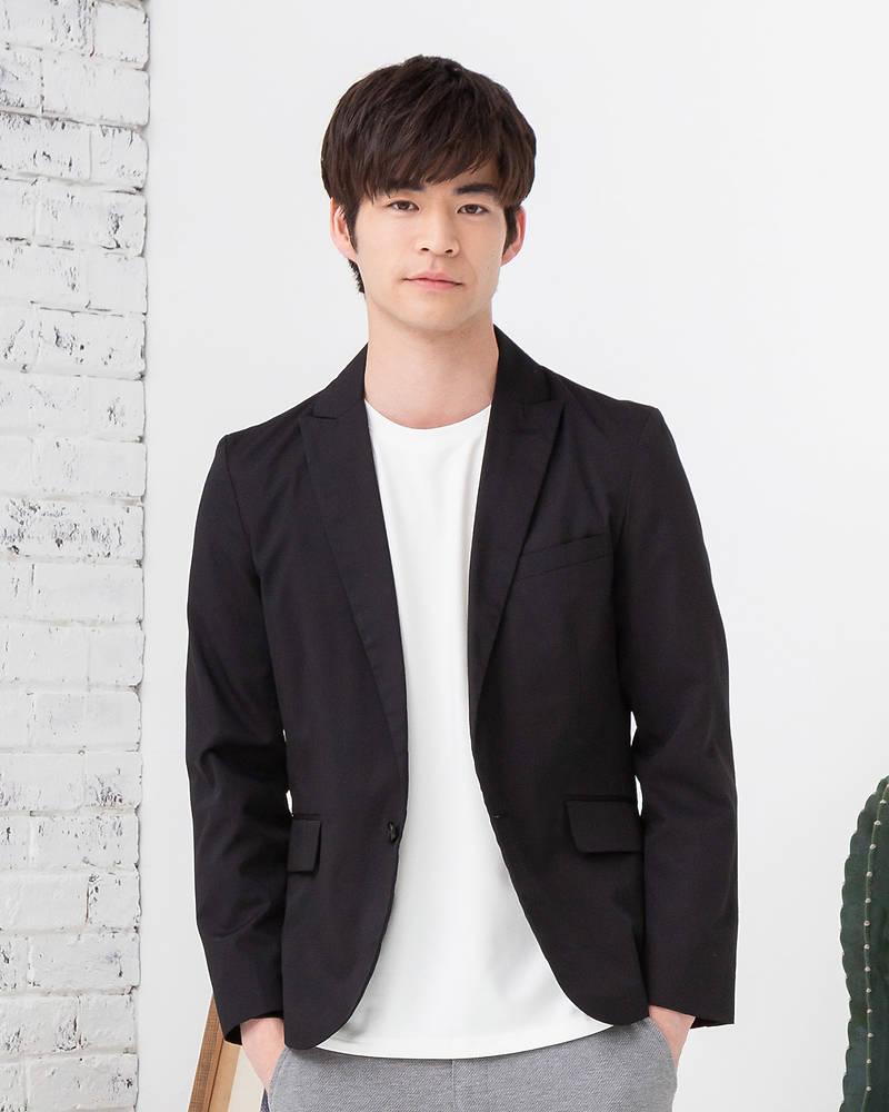 TR素材長袖テーラードジャケット(ブラック)