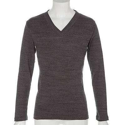 テレコVネックロングTシャツ(杢ブラック)