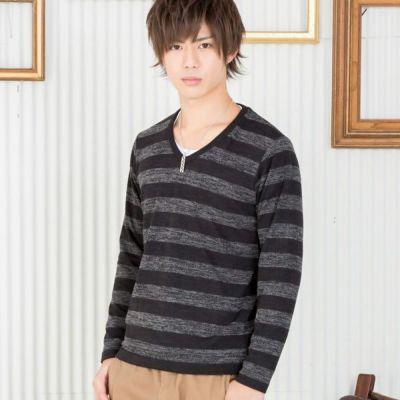 ボーダー長袖ニット+長袖Tシャツアンサンブル(2点セット)(ブラック)